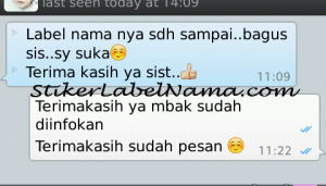 Testimoni Stiker Label Nama Waterproof