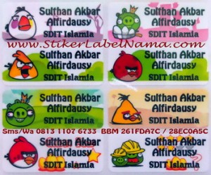 Stiker Label Nama Angry Bird