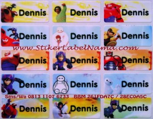Label Nama Big Hero isi 72pcs, uk 3x1.3cm