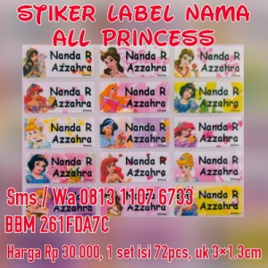 Stiker Label Nama All Princess