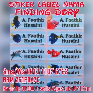 Stiker Label Nama Finding Dory