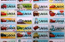 Stiker Label Nama Cars