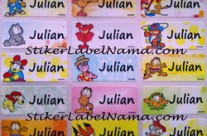 Stiker Label Nama Garfield