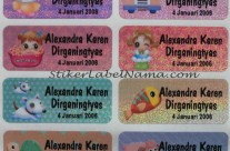 Stiker Label Nama Glitter Colour