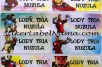 Stiker Label Nama Ironman