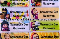 Stiker Label Nama Masha and The Bear