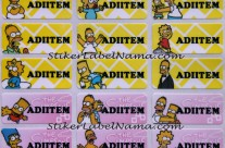 Stiker Label Nama Bart Simpson