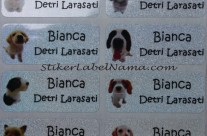 Stiker Label Nama Glitter Dog